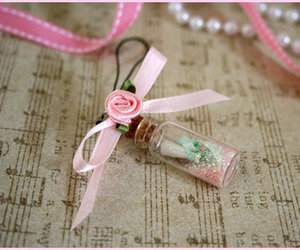 pink, rose, and bottle image