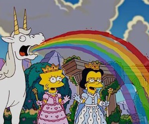 unicorn, rainbow, and the simpsons image