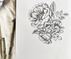 beautiful, drawing, and flowers image