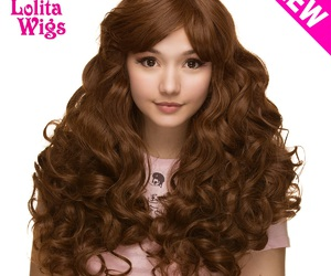 long hair, wig, and curly brown image