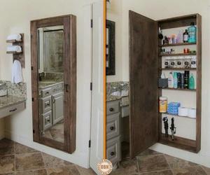 mirror, diy, and bathroom image