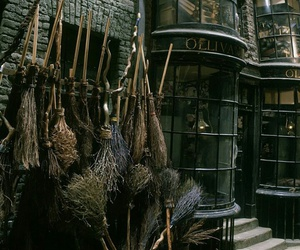 harry potter, broom, and dark image