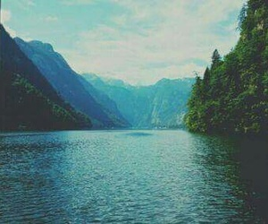 forest, lake, and mountains image