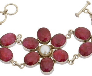etsy, pearl necklace, and ruby ring image