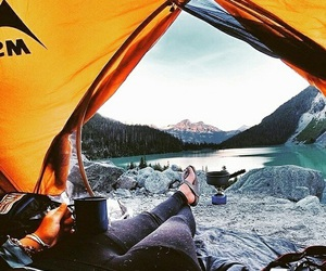 camping, mountain, and water image