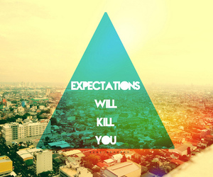 quote, expectations, and triangle image