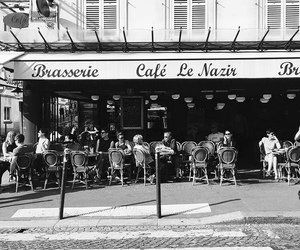 black and white, french, and street image