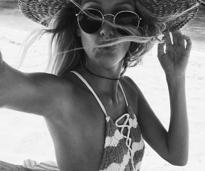 beach, black and white, and sunglasses image