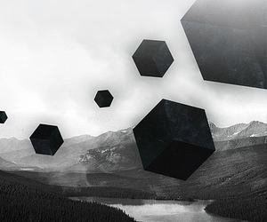 black and white, cubes, and geometry image