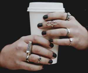 rings, coffee, and black image