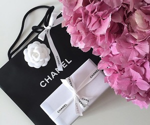 chanel, pink hydrangea, and chanel gift image