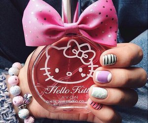 hello kitty, perfume, and pink image