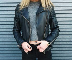 black hair, leather jacket, and look image