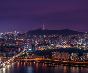 buildings, city lights, and city night image