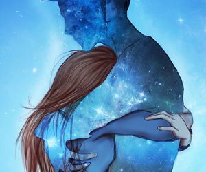 art, blue, and love image