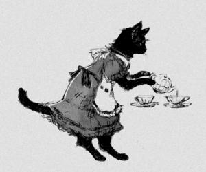 cat, tea, and dress image