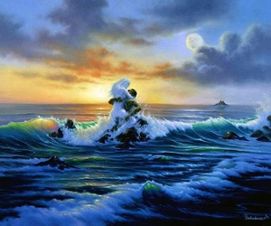 art, ocean, and patterns image