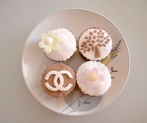 chanel, cupcakes, and food image