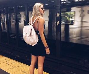 girl, fashion, and subway image