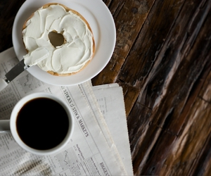 coffee, bagel, and yum image