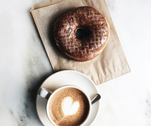 breakfast, coffee, and donut image