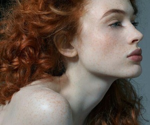 curly hair, freckles, and ginger hair image