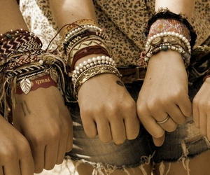 bracelet, girl, and friends image