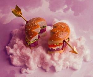 pink, hamburger, and heart image