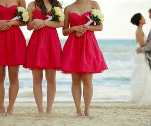 beach, couple, and wedding party image