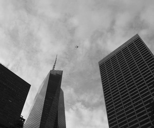 airplane, b&w, and black and white image