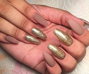 nails, Nude, and gold image