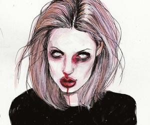 blood, drawing, and girl image
