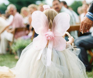 wedding, dress, and butterfly image