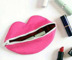 lips, pink, and lipstick image