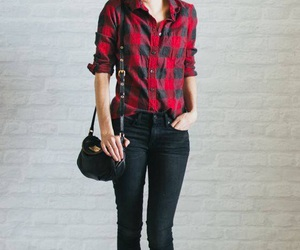 black, plaid, and outfit image