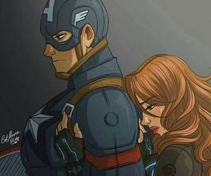 captain america, black widow, and steve rogers image