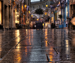 light, rain, and street image