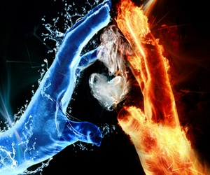 hearts, fire and water, and touch image