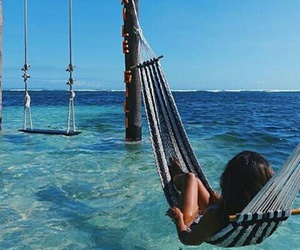 summer, ocean, and hammock image