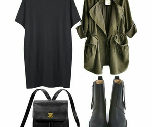 black ankle booties, black leather backpack, and green jackets image