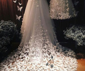 dress, wedding, and butterfly image