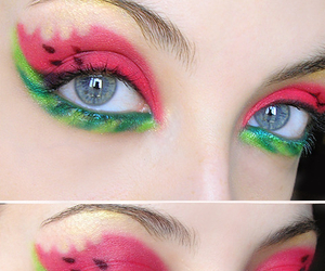 makeup, watermelon, and eyes image