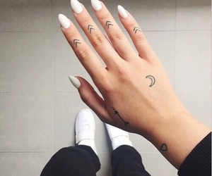 tattoo, nails, and white image