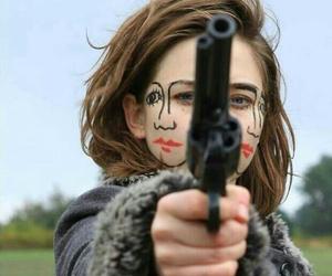 gun, art, and face image