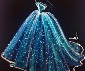dress, blue, and art image