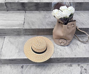 bag, flowers, and hat image