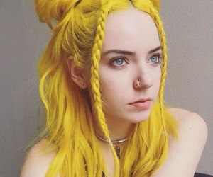 hair, yellow, and yellow hair image