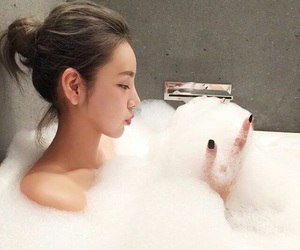 bath, girl, and white image