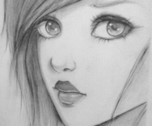 art, girl, and pencil drawing image