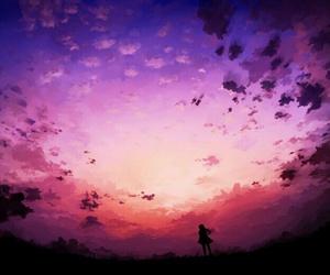 anime, sky, and landscape image